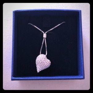 Swarovski silver side heart pull tie necklace